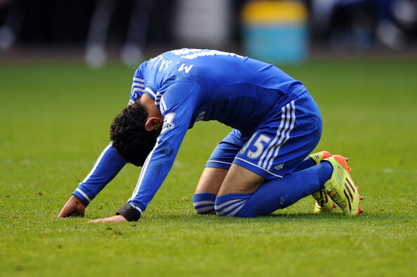 Mohamed Salah of Chelsea reacts after a missed chance on goal during the Barclays Premier League match between Swansea City and Chelsea at Liberty Stadium on April 13, 2014 in Swansea, Wales.  (April 12, 2014 - Source: Chris Brunskill/Getty Images Europe)