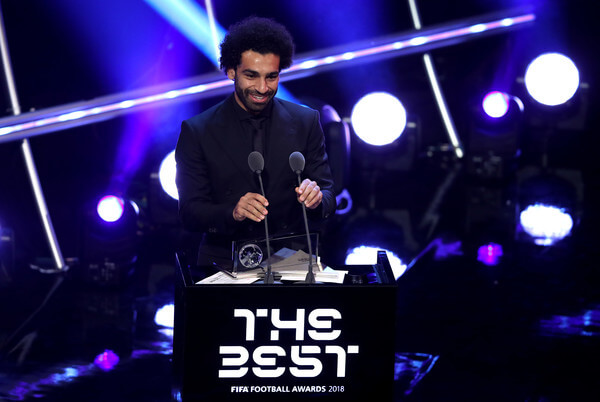 Mohamed Salah of Liverpool wins the trophy for the FIFA Puskas Award 2018 during the The Best FIFA Football Awards Show at Royal Festival Hall on September 24, 2018 in London, England.  (Sept. 23, 2018 - Source: Dan Istitene/Getty Images Europe)