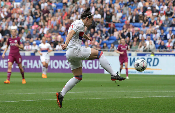 Lucy Bronze of Olympique Lyonnais scores the opening goal during the UEFA Women's Champions League, Semi Final Second Leg match between Olympique Lyonnais and Manchester City at Groupama Stadium on April 29, 2018 in Lyon, France.  (April 28, 2018 - Source: Emilio Andreoli/Getty Images Europe