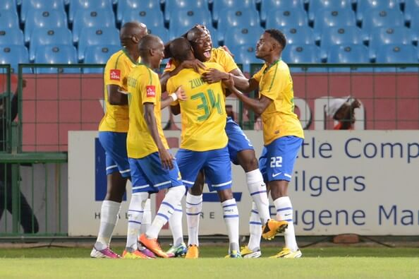 Hlompho Kekana celebrates with his players during the Absa Premiership match between Mamelodi Sundowns and Ajax Cape Town at Loftus Stadium on April 02, 2013 in Pretoria, South Africa.  (April 1, 2013 - Source: Gallo Images/Getty Images Europe)