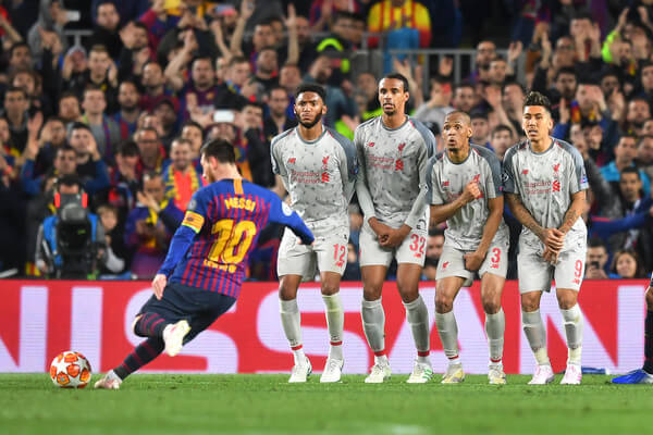 Lionel Messi of Barcelona scores his sides third goal from a free kick during the UEFA Champions League Semi Final first leg match between Barcelona and Liverpool at the Nou Camp on May 01, 2019 in Barcelona, Spain.  (April 30, 2019 - Source: Michael Regan/Getty Images Europe)