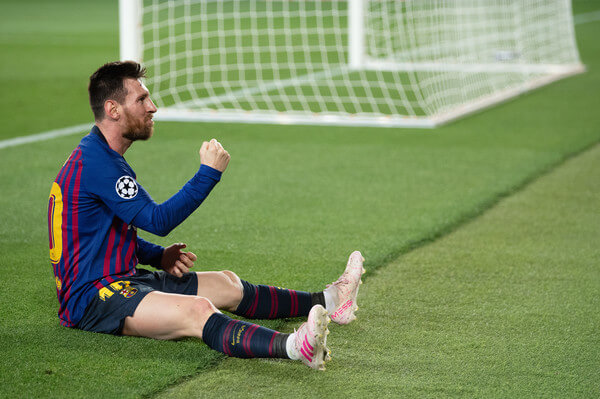 Lionel Messi of Barcelona celebrates after he scores his sides third goal during the UEFA Champions League Semi Final first leg match between Barcelona and Liverpool at the Nou Camp on May 01, 2019 in Barcelona, Spain.  (April 30, 2019 - Source: Getty Images Europe)