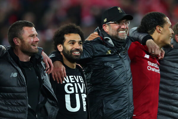 Jurgen Klopp, Manager of Liverpool and Mohamed Salah of Liverpool and team mates celebrate after the UEFA Champions League Semi Final second leg match between Liverpool and Barcelona at Anfield on May 07, 2019 in Liverpool, England.  (May 6, 2019 - Source: Getty Images Europe)