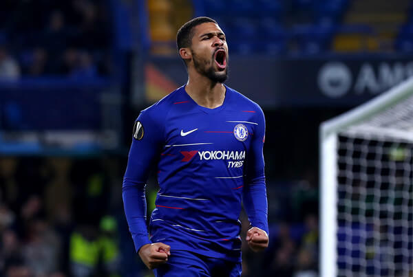 Ruben Loftus-Cheek of Chelsea celebrates after scoring his sides first goal during the UEFA Europa League Group L match between Chelsea and FC BATE Borisov at Stamford Bridge on October 25, 2018 in London, United Kingdom.  (Oct. 24, 2018 - Source: Clive Rose/Getty Images Europe)