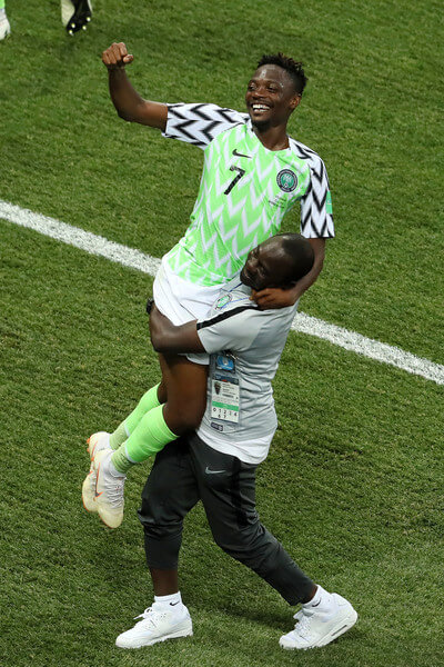 Ahmed Musa of Nigeria celebrates victory following the 2018 FIFA World Cup Russia group D match between Nigeria and Iceland at Volgograd Arena on June 22, 2018 in Volgograd, Russia.  (June 21, 2018 - Source: Kevin C. Cox/Getty Images Europe)