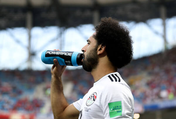 Mohamed Salah of Egypt has a drink during the 2018 FIFA World Cup Russia group A match between Saudia Arabia and Egypt at Volgograd Arena on June 25, 2018 in Volgograd, Russia.  (June 24, 2018 - Source: Catherine Ivill/Getty Images Europe)