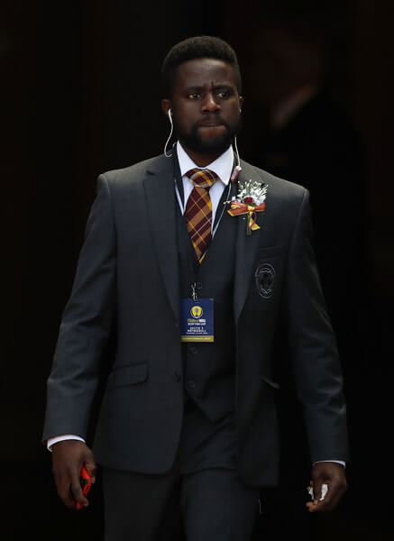 Gael Bigirimana of Motherwell is seen prior to the Scottish Cup Final between Celtic and Motherwell at Hampden Park on May 19, 2018 in Glasgow, Scotland.  (May 18, 2018 - Source: Ian MacNicol/Getty Images Europe)