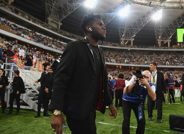 Franck Kessie of AC Milan walks on pitch prior to the Italian Supercup match between Juventus and AC Milan at King Abdullah Sports City on January 16, 2019 in Jeddah, Saudi Arabia.  (Jan. 15, 2019 - Source: Claudio Villa/Getty Images Europe)