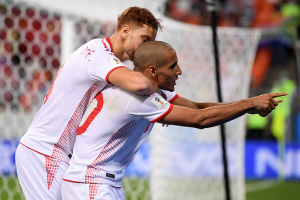 Wahbi Khazri of Tunisia celebrates with teammate Fakhreddine Ben Youssef after scoring his team's second goal during the 2018 FIFA World Cup Russia group G match between Panama and Tunisia at Mordovia Arena on June 28, 2018 in Saransk, Russia.  (June 27, 2018 - Source: Laurence Griffiths/Getty Images Europe)