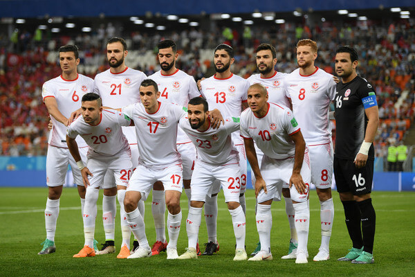 Tunisia pose prior to the 2018 FIFA World Cup Russia group G match between Panama and Tunisia at Mordovia Arena on June 28, 2018 in Saransk, Russia.  (June 27, 2018 - Source: Shaun Botterill/Getty Images Europe)