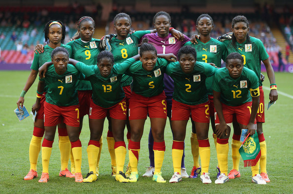 Cameroon line up during the Women's Football first round Group E Match of the London 2012 Olympic Games between Cameroon and Brazil at Millennium Stadium on July 25, 2012 in Cardiff, Wales.  (July 24, 2012 - Source: Julian Finney/Getty Images Europe)