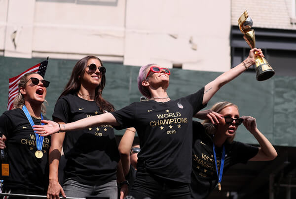 Alex Morgan, Megan Rapinoe, and Allie Long celebrate during the U.S. Women's National Soccer Team Victory Parade and City Hall Ceremony on July 10, 2019 in New York City.  (July 9, 2019 - Source: Getty Images North America)