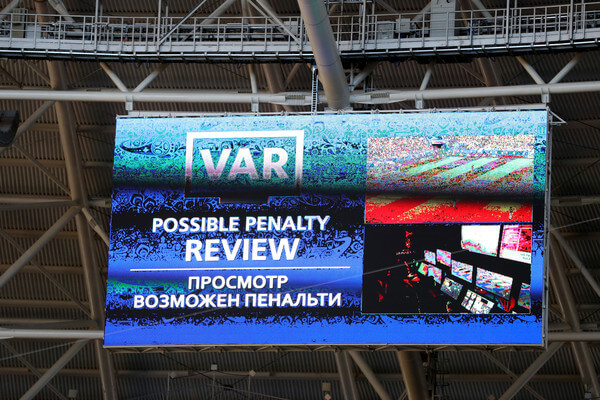 The big screen inside the staduim informs fans of a VAR review in consideration, after referee Milorad Mazic awards Senegal a penalty, which he then rescinds after looking at the VAR footage during the 2018 FIFA World Cup Russia group H match between Senegal and Colombia at Samara Arena on June 28, 2018 in Samara, Russia.  (June 27, 2018 - Source: Michael Steele/Getty Images Europe)