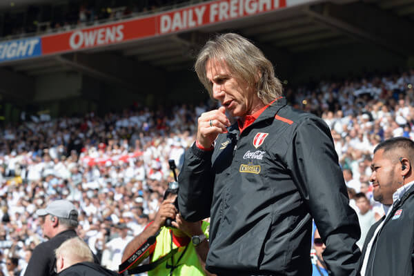 Head Coach Ricardo Gareca of Peru reacting prior to the 2018 FIFA World Cup Qualifier match between the New Zealand All Whites and Peru at Westpac Stadium on November 11, 2017 in Wellington, New Zealand.  (Nov. 10, 2017 - Source: Kai Schwoerer/Getty Images AsiaPac)