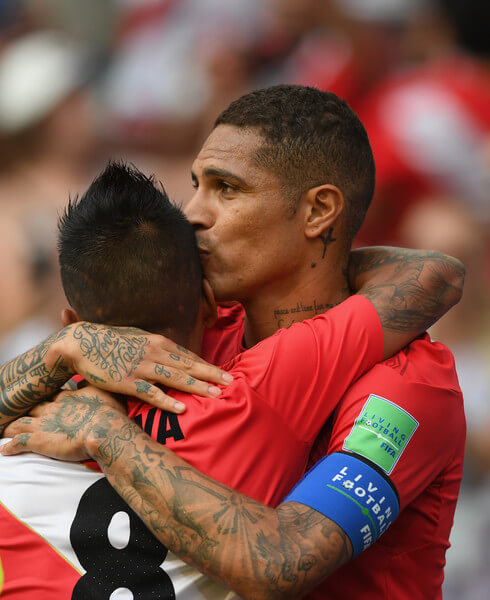 Peru player Paolo Guerrero (r) celebrates his goal with Christian Cueva during the 2018 FIFA World Cup Russia group C match between Australia and Peru at Fisht Stadium on June 26, 2018 in Sochi, Russia.  (June 25, 2018 - Source: Stu Forster/Getty Images Europe)