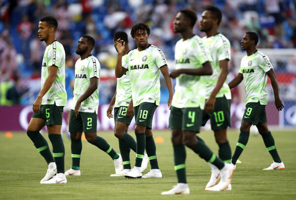 The Nigeria team warm up prior to the 2018 FIFA World Cup Russia group D match between Croatia and Nigeria at Kaliningrad Stadium on June 16, 2018 in Kaliningrad, Russia.  (June 15, 2018 - Source: Julian Finney/Getty Images Europe)