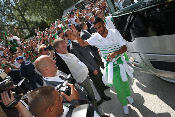 Riyad Mahrez of Algeria leaves the team bus prior to the international friendly match between Algeria and Armenia at Estadio Tourbillon on May 31, 2014 in Sion, Switzerland.  (May 30, 2014 - Source: Philipp Schmidli/Getty Images Europe)