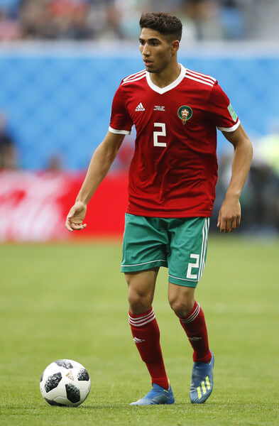 Achraf Hakimi of Morocco runs with the ball during the 2018 FIFA World Cup Russia group B match between Morocco and Iran at Saint Petersburg Stadium on June 15, 2018 in Saint Petersburg, Russia.  (June 14, 2018 - Source: Julian Finney/Getty Images Europe)
