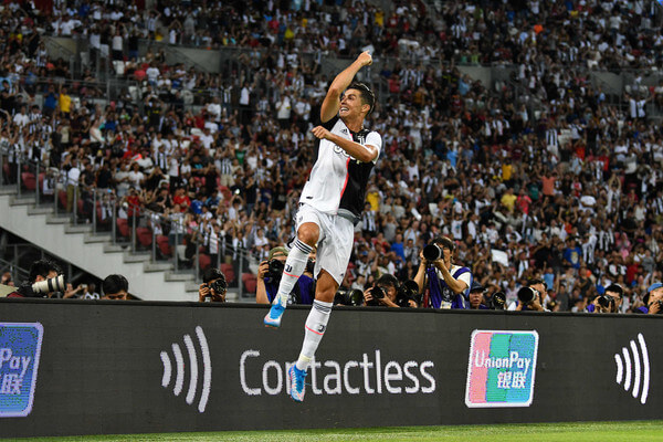 Cristiano Ronaldo of Juventus celebrates scoring his side's second goal during the International Champions Cup match between Juventus and Tottenham Hotspur at the Singapore National Stadium on July 21, 2019 in Singapore.  (July 20, 2019 - Source: Getty Images AsiaPac)