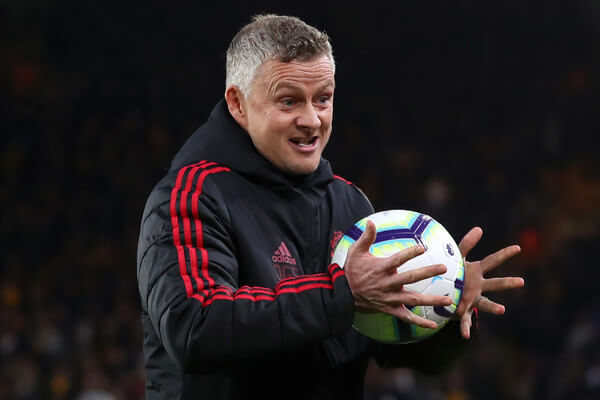 Ole Gunnar Solskjaer, Manager of Manchester United is seen with a match ball prior to the Premier League match between Wolverhampton Wanderers and Manchester United at Molineux on April 02, 2019 in Wolverhampton, United Kingdom.  (April 1, 2019 - Source: Getty Images Europe)