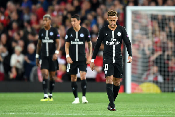 Neymar of Paris Saint-Germain looks dejected after conceding the first goal during the Group C match of the UEFA Champions League between Liverpool and Paris Saint-Germain at Anfield on September 18, 2018 in Liverpool, United Kingdom.  (Sept. 17, 2018 - Source: Michael Regan/Getty Images Europe)