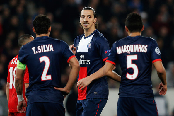 Zlatan Ibrahimovic (C) of PSG speaks to team mates Thiago Silva and Marquinhos during the UEFA Champions League Round of 16 second leg match between Paris Saint-Germain FC and Bayer Leverkusen at Parc des Princes on March 12, 2014 in Paris, France.  (March 11, 2014 - Source: Dean Mouhtaropoulos/Getty Images Europe)