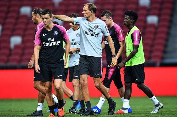 Thomas Tuchel Manager of Paris Saint-German actions during training ahead of the International Champions Cup 2018 match between Arsenal v Paris Saint Germain on July 27, 2018 in Singapore.  (July 26, 2018 - Source: Thananuwat Srirasant/Getty Images AsiaPac)