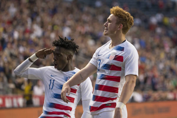Tim Weah #11 and Josh Sargent #13 of the United States celebrate after a goal by Sargent in the second half of the friendly soccer match against Bolivia at Talen Energy Stadium on May 28, 2018 in Chester, Pennsylvania. The United States defeated Bolivia 3-0.  (May 27, 2018 - Source: Mitchell Leff/Getty Images North America)