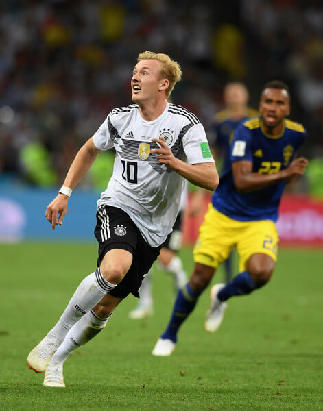 Germany player Julian Brandt in action during the 2018 FIFA World Cup Russia group F match between Germany and Sweden at Fisht Stadium on June 23, 2018 in Sochi, Russia.  (June 22, 2018 - Source: Stu Forster/Getty Images Europe)