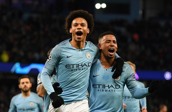 Leroy Sane of Manchester City celebrates scoring his sides first goal with Gabriel Jesus during the UEFA Champions League Group F match between Manchester City and TSG 1899 Hoffenheim at Etihad Stadium on December 12, 2018 in Manchester, United Kingdom.  (Dec. 11, 2018 - Source: Gareth Copley/Getty Images Europe)