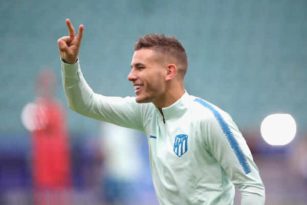 Lucas Hernandez. of Atletico Madrid smiles during a training session ahead of the UEFA Super Cup match against Real Madrid CF at Lillekuela Stadium on August 14, 2018 in Tallinn, Estonia.  (Aug. 13, 2018 - Source: Alexander Hassenstein/Getty Images Europe)