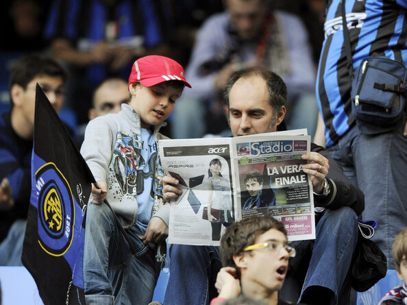 Supporters of Inter Milan during the UEFA Champions League Semi Final First Leg match between Inter Milan and Barcelona at Giuseppe Meazza Stadium on April 20, 2010 in Milan, Italy.  (April 19, 2010 - Source: Claudio Villa/Getty Images Europe)