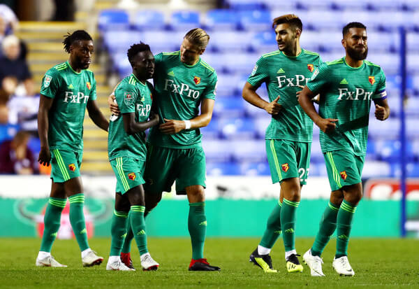 Domingos Quina of Watford (2L) celebrates after scoring his team's second goal with team mates during the Carabao Cup Second Round match between Reading and Watford at Madejski Stadium on August 29, 2018 in Reading, England.  (Aug. 28, 2018 - Source: Clive Rose/Getty Images Europe)