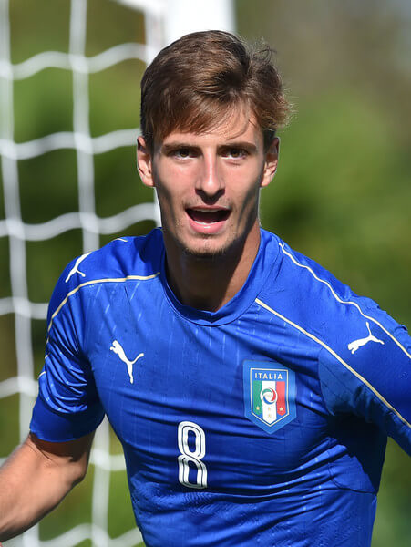 Matteo Gabbia of Italy U18 celebrates after scoring the goal 1-1 during the international friendly match between Italy U18 and Slovenia U18 on August 11, 2016 in Codroipo near Palmanova, Italy.  (Aug. 10, 2016 - Source: Giuseppe Bellini/Getty Images Europe)