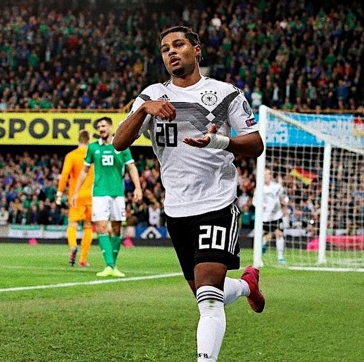 """Serge Gnabry's really has the sauce! The @arsenal academy graduate managed only a total of 10 appearances for the club between 2012-16 before being shipped off to @werderbremen for only a reported£5m after a loan spell at West Brom. Now at 24, entering his prime, the forward born to an Ivorian father and German mother has become a crucial ingredient for both @fcbayern and the @dfb_team. Gnabry is directly one of the replacements to the departed Robben and Ribery at the Bundesliga champions and his vital Euro 2020 qualifiers goal against Northern Ireland on Monday brought his tally to 9 in 10 for the 2014 World Champions. He has also scored a total of 10 goals, over 5 assists in 32 appearances for the Bavarians and was named the 2018/19 Player of the season at the club. No wonder Die Mannschaft coach, Joachim Low thinks very highly of him:⠀ ⠀ """"Serge Gnabry has become a pivotal player for us. He can hold up the ball in attack and bring other players into the game. His technical ability is right up there."""""""