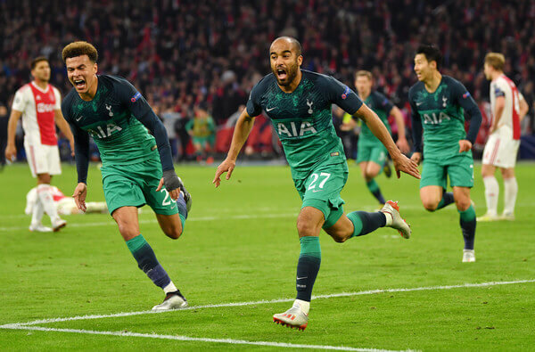 Lucas Moura of Tottenham Hotspur celebrates after scoring his team's third goal with Dele Alli of Tottenham Hotspur during the UEFA Champions League Semi Final second leg match between Ajax and Tottenham Hotspur at the Johan Cruyff Arena on May 08, 2019 in Amsterdam, Netherlands.  (May 7, 2019 - Source: Getty Images Europe)