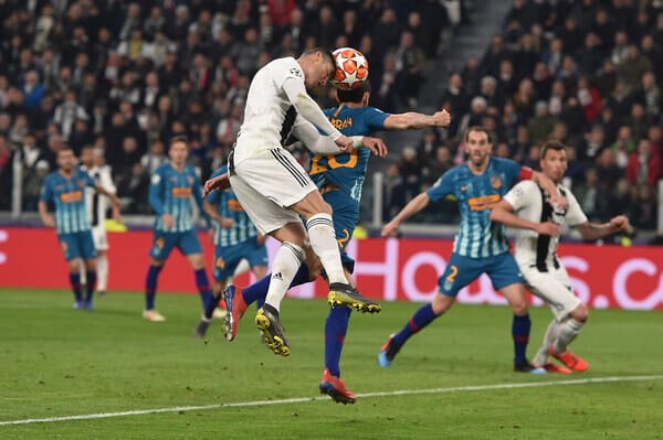 Cristiano Ronaldo of Juventus scores the opening goal during the UEFA Champions League Round of 16 Second Leg match between Juventus and Club de Atletico Madrid at Allianz Stadium on March 12, 2019 in Turin, Italy.  (March 11, 2019 - Source: Getty Images Europe)