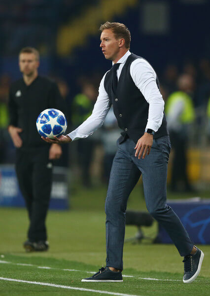 Julian Nagelsmann manager of 1899 Hoffenheim catches the match ball during the Group F match of the UEFA Champions League between FC Shakhtar Donetsk and TSG 1899 Hoffenheim at Donbass Arena on September 19, 2018 in Donetsk, Ukraine.  (Sept. 18, 2018 - Source: Joosep Martinson/Getty Images Europe)