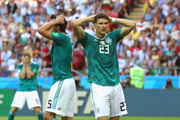 (L-R) Timo Werner of Germany, Mats Hummels and his team mate Mario Gomez react during the 2018 FIFA World Cup Russia group F match between Korea Republic and Germany at Kazan Arena on June 27, 2018 in Kazan, Russia.  (June 26, 2018 - Source: Alexander Hassenstein/Getty Images Europe)