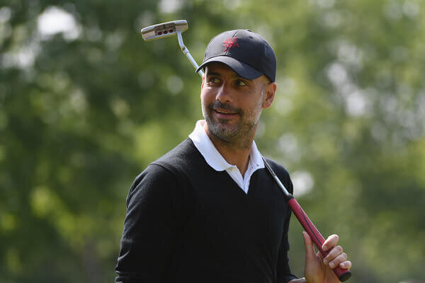 Pep Guardiola looks on during the Pro Am for the BMW PGA Championship at Wentworth on May 23, 2018 in Virginia Water, England.  (May 22, 2018 - Source: Ross Kinnaird/Getty Images Europe)