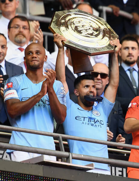 Sergio Aguero of Manchester City celebrates with the Community Shield trophy following his side's victory during the FA Community Shield between Manchester City and Chelsea at Wembley Stadium on August 5, 2018 in London, England.  (Aug. 4, 2018 - Source: Clive Mason/Getty Images Europe)