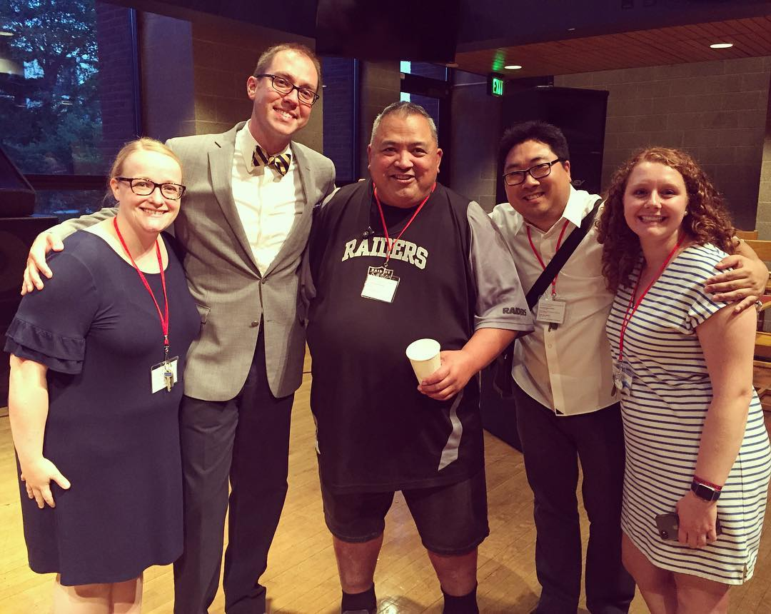 Jesse Manibusan with the One Call Institute leadership team (Jes Garceau, Matt Reichert, Zack Stachowski, and Carmen Grace Poppert)