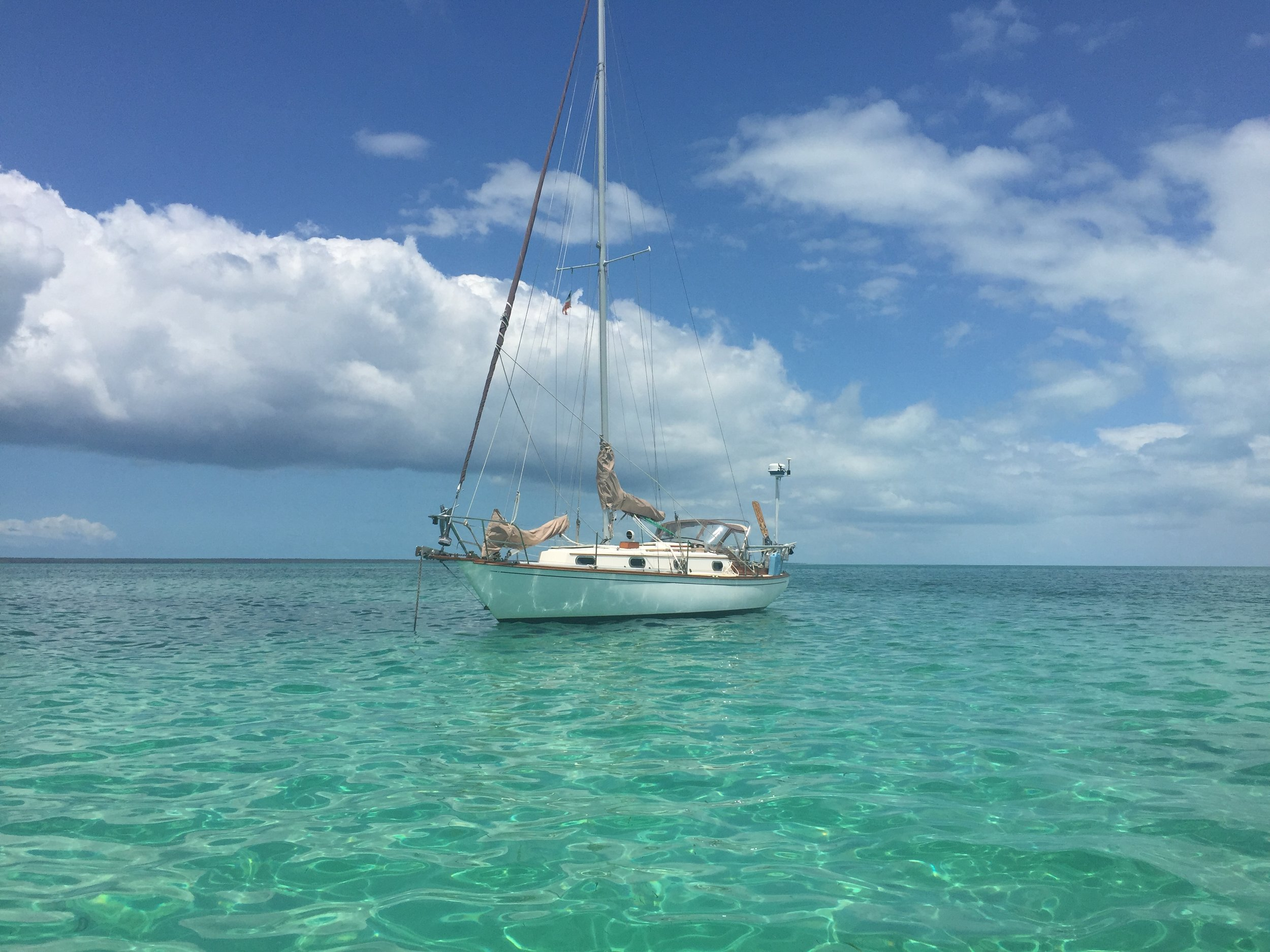 Argo anchored off Green Turtle Cay, Bahamas.