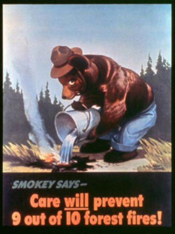 This is the first ever Smokey the Bear ad (1944). Smokey, like Dr. Dickerson, is too focused on triggers and neglects the importance of managing forest undergrowth for the prevention of wildfires.