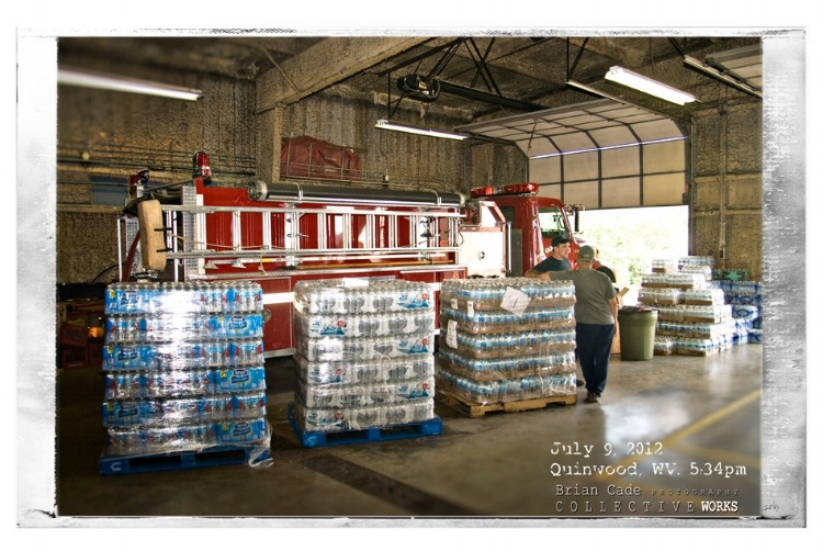 Pallets of water stand ready to be distributed to the residents.