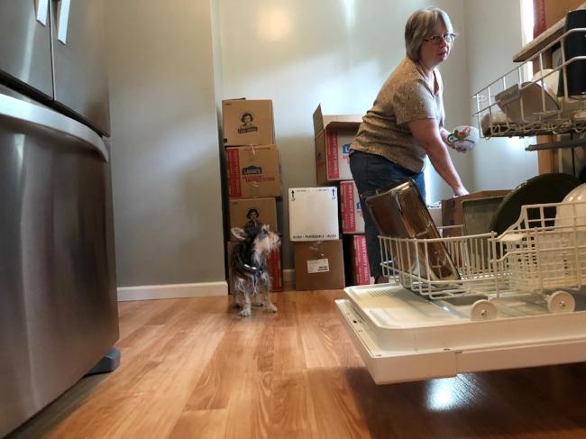 Barbara giving the dishwasher its first test run.