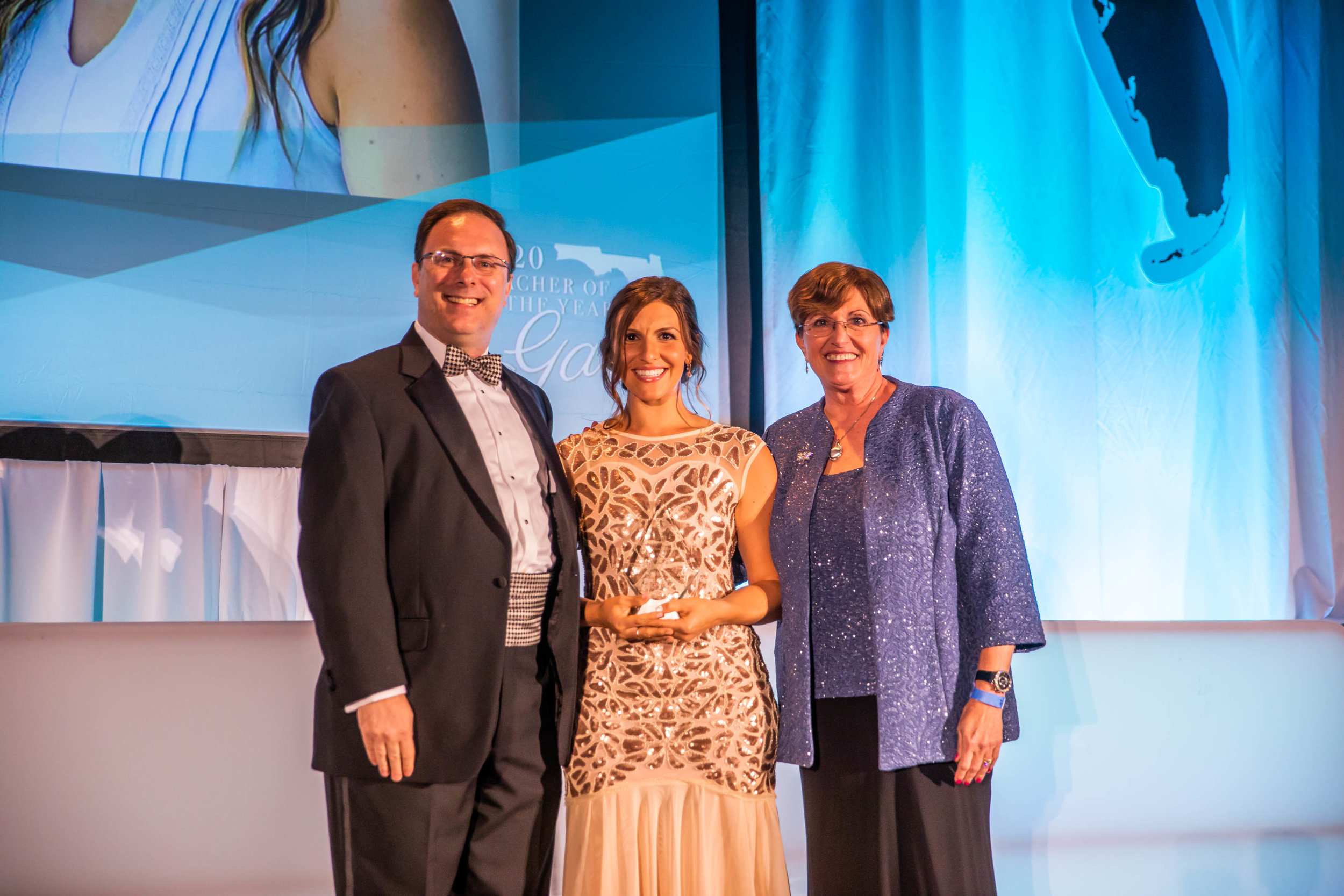 2019 MARY BROGAN EXCELLENCE IN EDUCATION AWARD - MELISSA PAPPAS, ORANGE COUNTYPresented by Charles Hokanson, Senior Vice President, Helios, and 2018 Recipient Bonnie Bresnyan, Hillsborough County