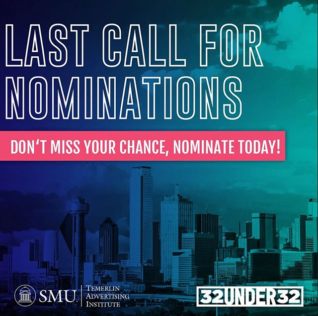 #linkinbio Last call for 32 Under 32 nominees! Nominations for 32 Under 32 close at 11:59 tonight. We'll be honoring the selected 32 nominees on October 23 at the @HOBDallas. Remember, any advertising discipline is eligible for nomination. Don't wait and nominate now!