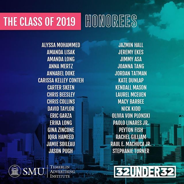 Introducing our 2019 class of 32 Under 32 honorees! 👏Congratulations to all those who were nominated this year for your outstanding work in the DFW advertising industry. Ad 2 Dallas will be honoring our 32 winners on October 23rd at the House of Blues. Tickets will be on sale soon! . . #32under32 #whyad2 #32U32 #advertising #DFW #whyad2dal