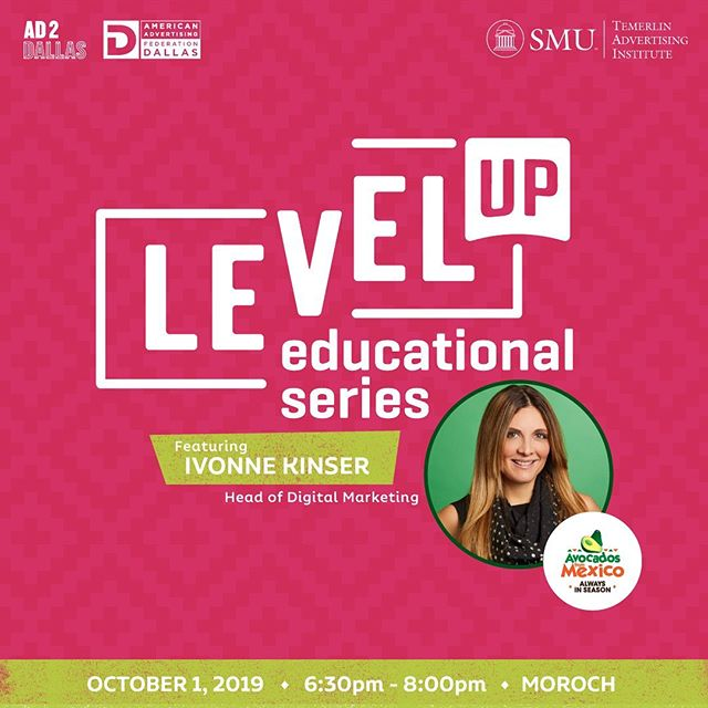 Ready. Set. Level Up Your Digital Marketing. Join us 10/1 at @moroch_agency from 6:30-8:00pm for a guacin' time🥑. Ivonne Kinser, Head of Digital Marketing at Avocados from Mexico is our guest speaker. Ivonne will share industry tips on innovating brands with digital forward-thinking. Click the link 🔗in our bio to buy your tickets. See you there!
